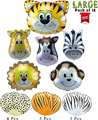 Monkey Jungle Animal (Jungle Animals Foil and Latex Balloons Birthday Party Decorations Lion Tiger Monkey Zebra Giraffe Cow Pack of 18)