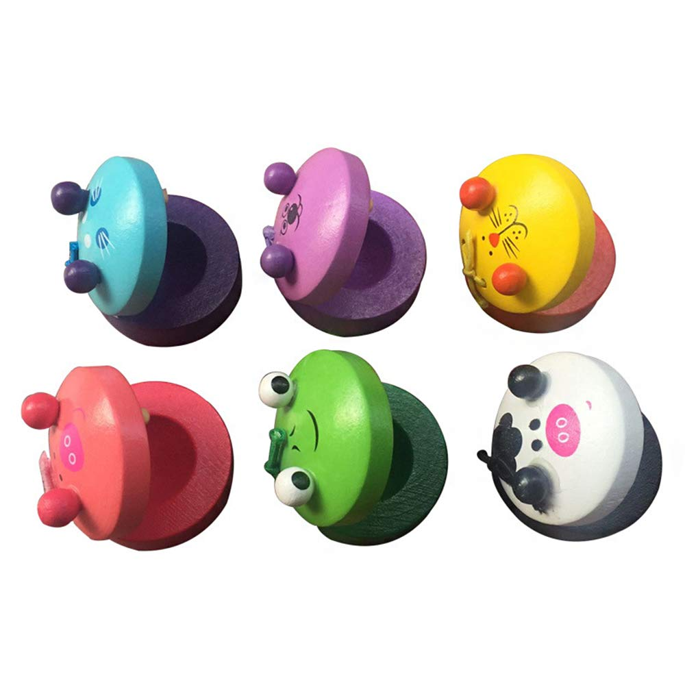 6 Pieces Wooden Finger Castanets, Lovely Cute Animal Pattern Castanet, Musical Instruments Rhythm Kids Toys for Baby Early Education