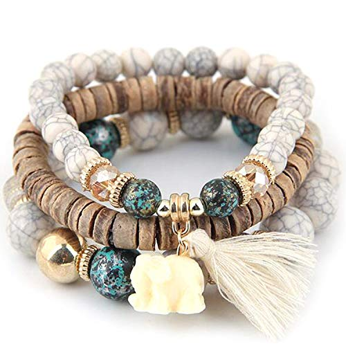 XioNiu New Women Fashion Wood Beads Bracelets Boho Small Elephant Charm Bracelets Set Vintage Style Jewelry Strand ()