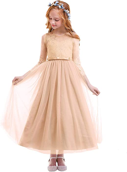 Flower Girl Dress Kids Lace Floral Long Sleeve Wedding Bridesmaid Maxi Tutu Tulle Full Length Dress A-line Bowknot Formal Party Pageant Ball Prom Gown ...