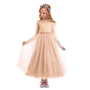 FYMNSI Flower Girl Dress Kids Lace Floral Long Sleeve Wedding Bridesmaid Maxi Tutu Tulle Full Length