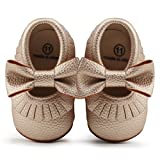 DELEBAO Soft Sole Leather Baby Shoes Infant Toddler Anti Slip Moccasins Crib Shoes (0-6 Months, Gold-1)