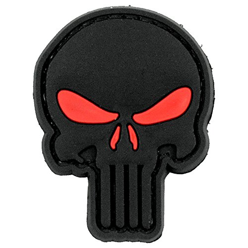 LIVABIT PVC Rubber 3D Morale Patch MP-25 Tactical Airsoft Paintball Black Punisher Skull Red Eyes