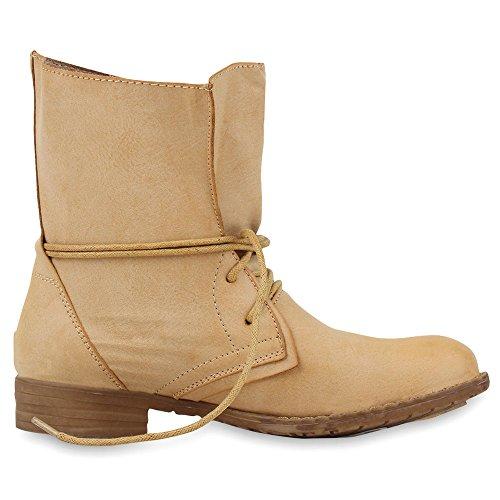 Damen Schnürstiefeletten Stiefeletten Übergrößen Denim Schuhe Prints Leder-Optik Schuhe Spitze Modische Boots Zipper Jennika Hellbraun