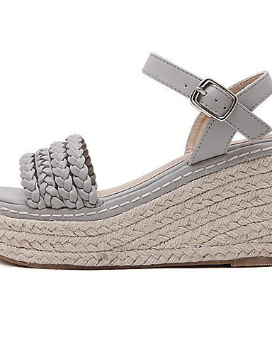 ShangYi Womens Shoes Leatherette Wedge Heel Open Toe Sandals Party & Evening / Dress White / Gray gray
