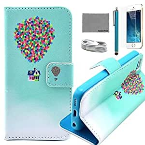QJM Balloon Travel Pattern PU Leather Case with Screen Protector and USB Cable and Stylus for iPhone 5/5S