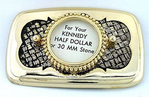 30mm Cabochon Half Dollar Gold Plated Goldplated Weave Belt Buckle Mounting CF924