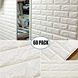 60 Pack 3D Brick Wall Stickers White Color Self-adhesive Panel Decal PE Wallpaper PE Foam Self Adhesive Brick Pattern Soft Pack TV Sofa Background Living Room Decoration ( 23.62''X 23.62'' inch)