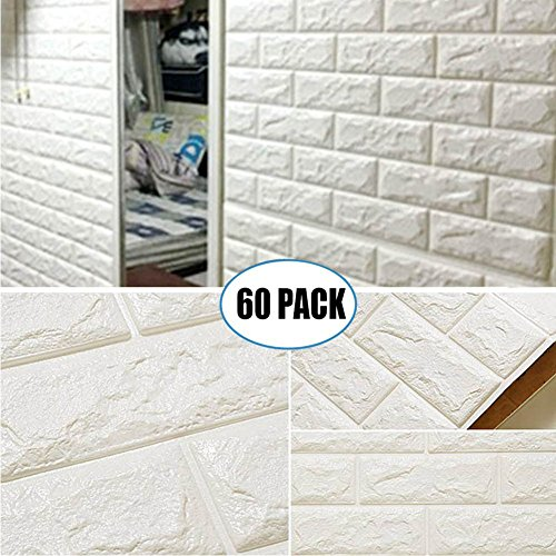 60 Pack 3D Brick Wall Stickers White Color Self Adhesive Panel Decal PE  Wallpaper PE