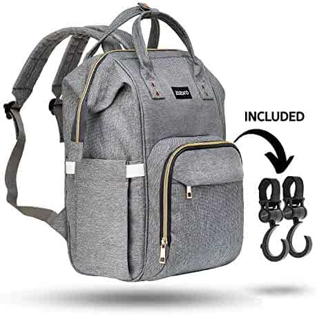 Zuzuro Diaper Bag Backpack - Waterproof w/Large Capacity & Multiple Pockets for Organization. Ideal for Travel Nappy Bags - W/Insulated Bottle Pocket. 2 Stroller Hooks Incl. (Silver Gray)