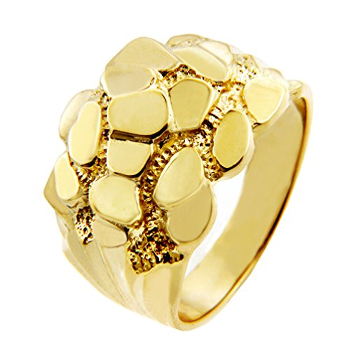 (Men's Gold Nugget Rings - The Block Solid Gold Nugget Ring(14K) (9))