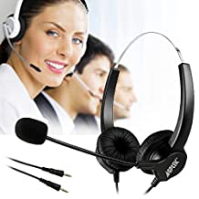 AGPtek Hands-free Noise Cancelling Corded Binaural Headset Headphone with Mic Mircrophone for Call Center Phone Desk Telephone - Cord with Dual 3.5mm Audio Plug