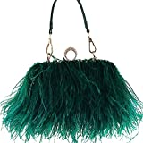 Zakia Real Natural Ostrich Feather Evening Clutch Shoulder Bag Party Bag (Green)