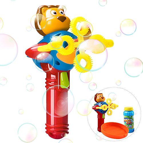 iPlay, iLearn Automatic Bubble Machine Gun, Bubble Blower Set with Solution, Baby Outdoor Shooter, Toys in Park, Garden, Party, Birthday Gift for Ages 2, 3, 4, 5 Year Olds Kids, Girls, Boys by iPlay, iLearn
