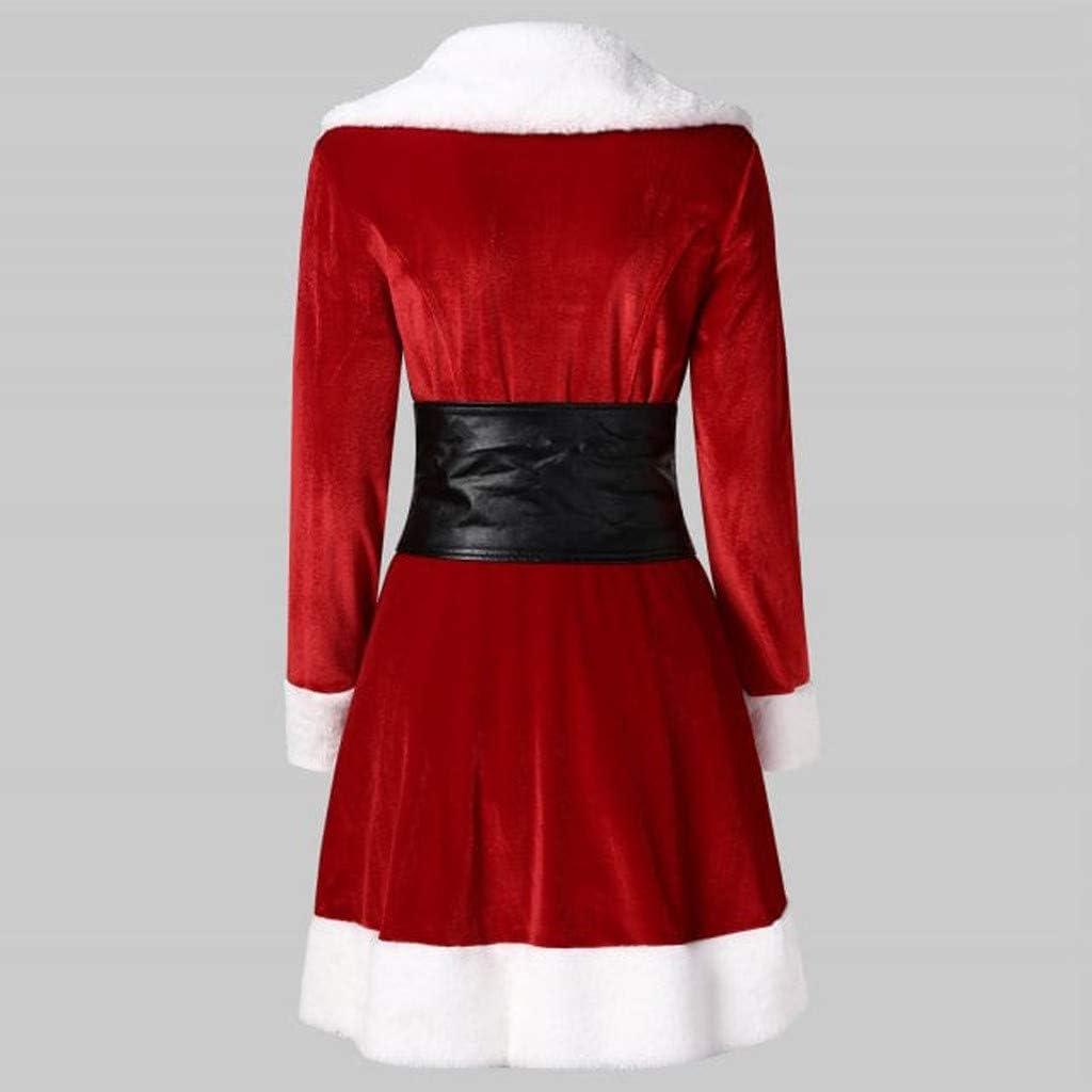 Santa Coat Christmas Lapel Slim Jacket Velvet Warm Coat with Belt 4Clovers Christmas Outwear for Women