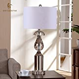 LINA-Continental luxury bedroom living room lamp American bed Modern creative K9 Pure Crystal Lamps