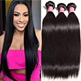 "Ali Julia Hair Wholesale 10A Peruvian Straight Virgin Hair Weave 3 Bundles 100% Unprocessed Remy Human Hair Weft Extensions 95-100g/pc (8 10 12"", Natural black color)"