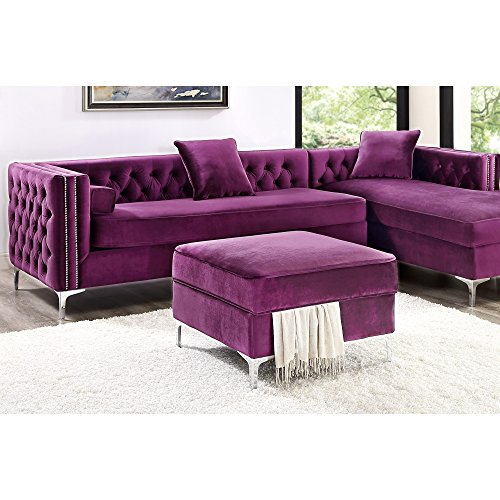 Giovanni Purple Velvet Storage Ottoman - Chrome Legs | Square | Modern and Contemporary | Inspired Home
