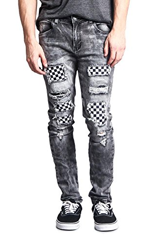 Victorious G-Style USA Men's Checkered Covered Knee Holes Ska Punk Mod Distressed High Fashion Biker Style Jeans DL1120 - Black - 32/30 - II1H