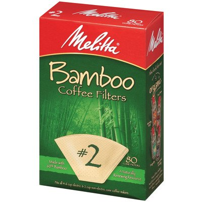 Melitta Cone Coffee Filters No. 2 Natural Bamboo 80 Count