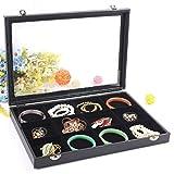 RJ Displays- Black Velvet Decorative 12 Grid Slot Jewelry Display Box Tray Clear Glass Top/Dresser Top Pendant Ring Earrings Bracelets Coins Cuff-link Jewelry Gemstones Organizer (12)