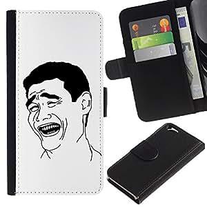 KLONGSHOP // Tirón de la caja Cartera de cuero con ranuras para tarjetas - El hombre de la sonrisa Riendo Arte Negro Blanco Ironía Cita - Apple Iphone 6 //