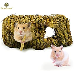 SunGrow Hand-Woven Seagrass Tunnel Toy - Small Animal Activity Center from Pet-Safe, All Natural Grass Tunnel House - Perfect for Rabbits, Gerbils, Hamsters and Chinchillas