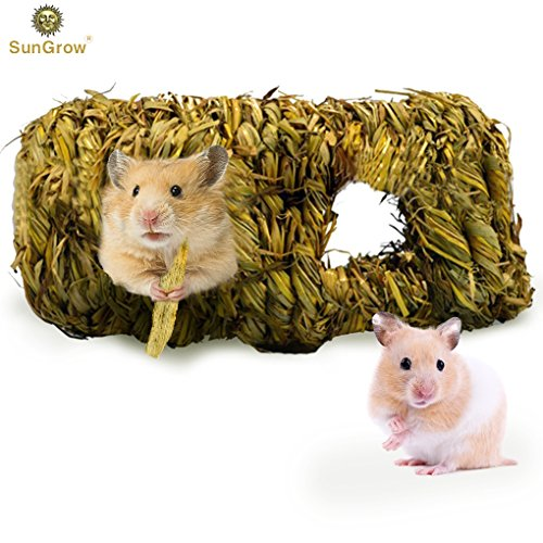 (SunGrow Hand-Woven Seagrass Tunnel Toy - Small Animal Activity Center from Pet-Safe, All Natural Grass Tunnel House - Perfect for Gerbils, Hamsters and Chinchillas )