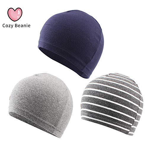 XIAOHAWANG 3 Pack Baby Beanies Boys Girls Toddler Infant Cotton Caps Newborn Hospital Hats Cute Soft (Color B Pack of 3, S (0-6 Months))