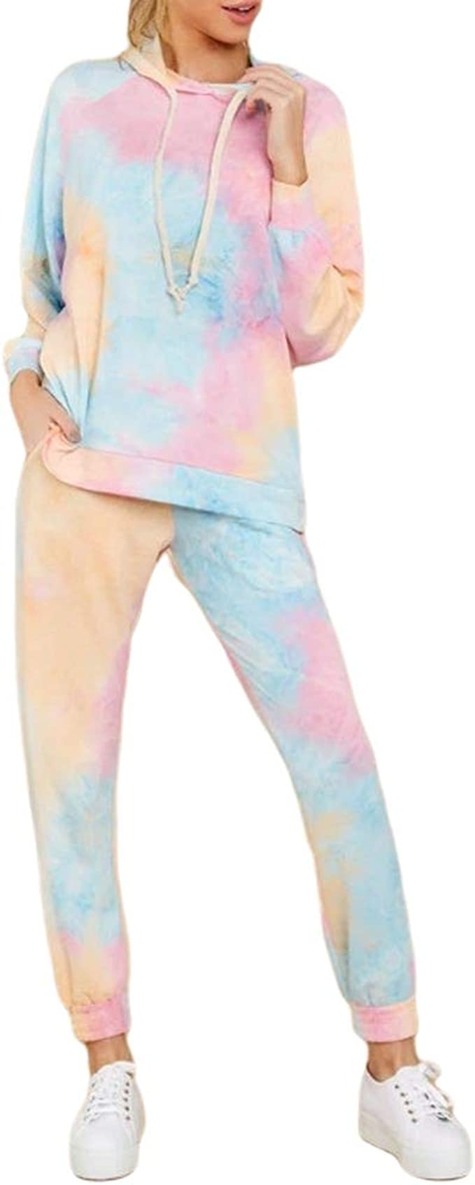 Fashion Women Tie Dye Bandage Short Sleeves Tops Long Wide Legs Pants Set 2pcs