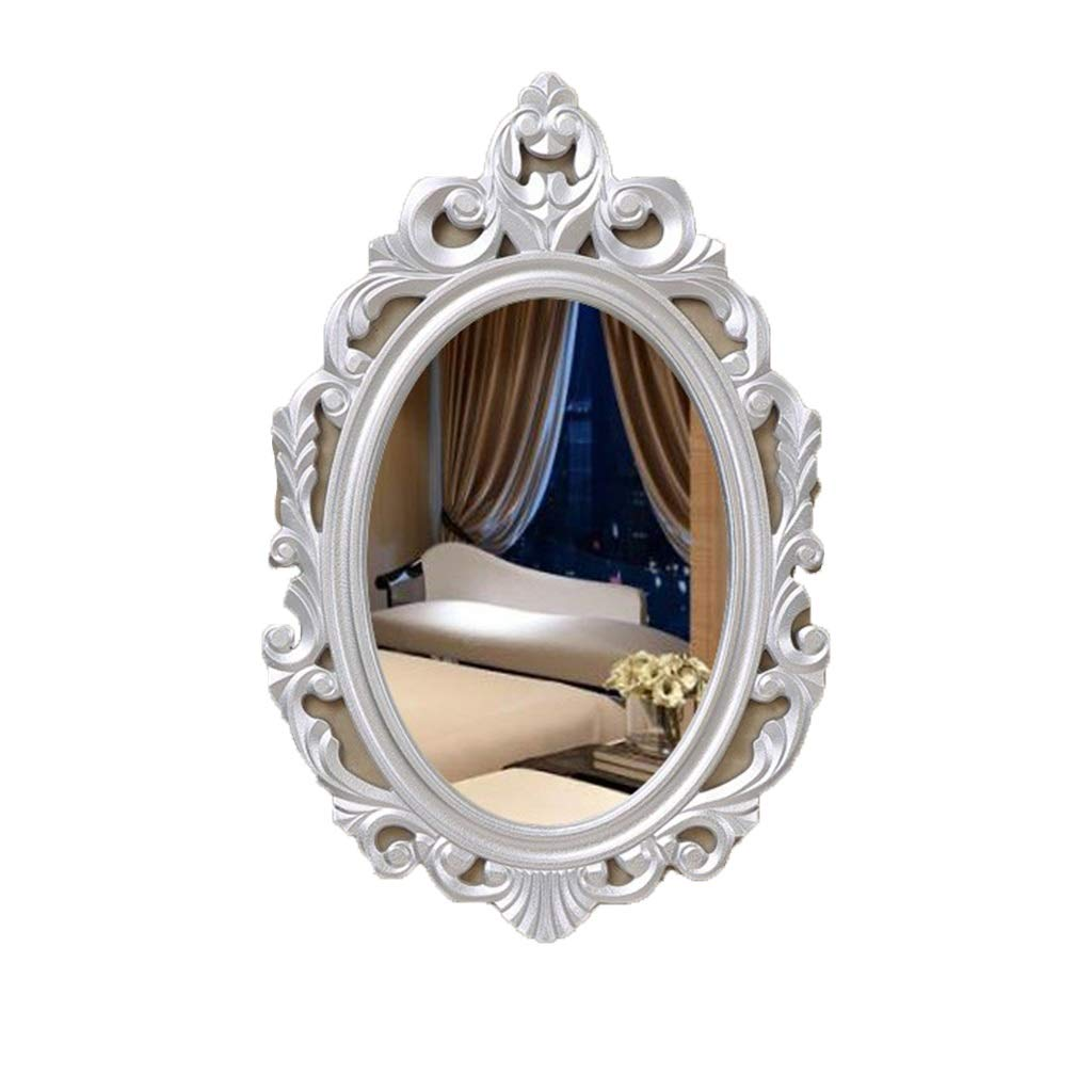Silver NJYT Wall Mounted Bathroom Mirrors, HD Vintage Style Hanging Wall Mirror with Accessories Suit for Dressing Room Bedroom (color   Silver)