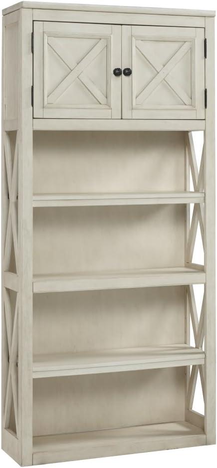 Ashley Furniture Signature Design - Bolanburg Large Bookcase - Casual - 3 Shelves/1 Cabinet - Antique White Finish