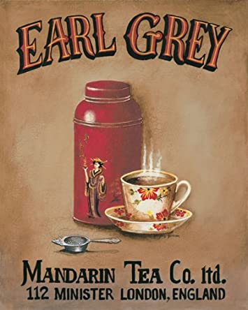Gango Home Decor Tea Time Vintage Tea Signs Earl Grey, English Breakfast, Chamomile and Peppermint Four 16×20-Inch Hand-Stretched Canvases Ready to Hang