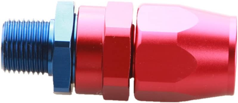 """8AN 8AN To 3//8/"""" NPT Straight Swivel Oil Gas Line Hose End Fitting Red//Blue"""