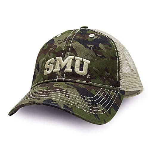 FANOUFLAGE NCAA Adjustable Trucker Hat - SMU Camo Baseball Cap (Renewed) (Camouflage Southern Hat)