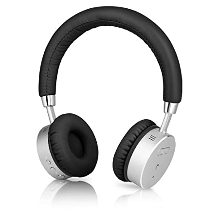 BÖHM Wireless Bluetooth Headphones with Active Noise Cancelling Headphones Technology - Features Enhanced Bass, Inline Microphone & 18-Hour (Max) Battery - Black/Silver Mobile Phone  at amazon