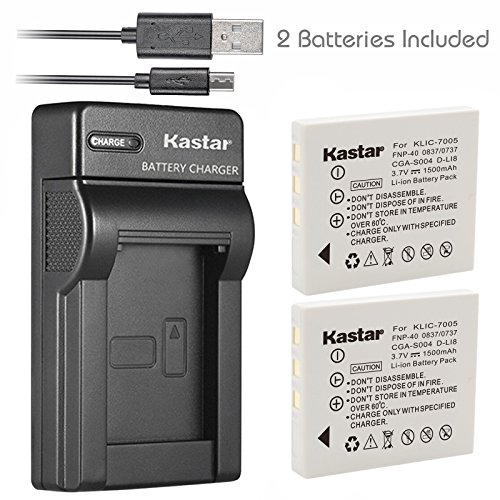 Kastar Battery 2 Pack & Slim USB Charger for Fujifilm NP-40, Panasonic CGA-S004, Kodak KLIC-7005, Samsung SLB-0737, SLB-0837, Sanyo NP-40, D-Li8, Benq Dli-102, Konica Minolta NP-1 and DE-992