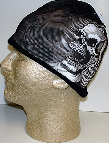 Hot Leathers Assassin Gangster Skull 3d Sub Cap Beanie Knit Black White Grey Khc1017]()