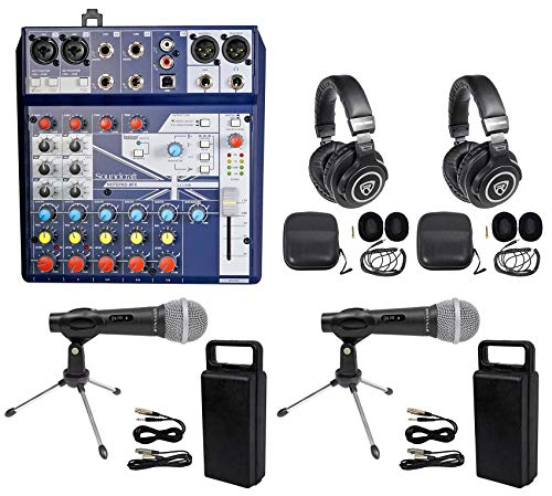 2 Person Podcasting Podcast Kit Soundcraft Mixer+Headphones+Mic+Stand+Pop Filter