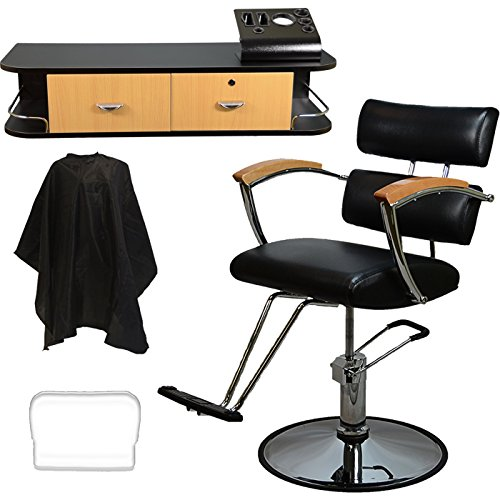 Beauty Furniture (LCL Beauty Salon Styling Station Package: Contemporary Hydraulic Barber Chair & Wall Mount Locking Styling Station with Oak Drawers FREE Steel Instrument Holder)