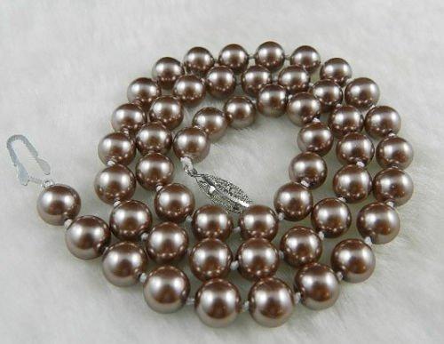 Gozebra(TM) 8mm Silver Champagne South Sea Shell Pearl Necklace 18