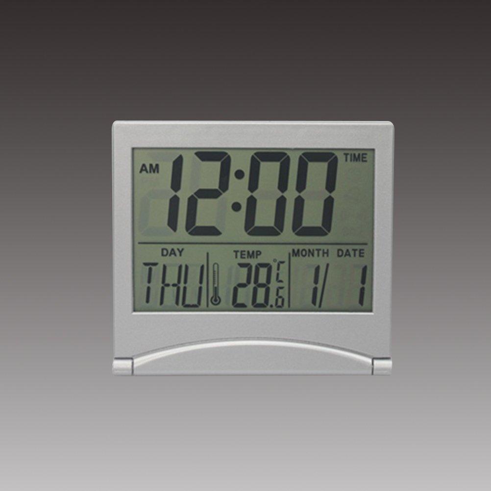 WINOMO Reloj despertador con espejo digital Reloj despertador con temperatura creativa LCD Reloj de mesa ultrafino con calendario de viaje: Amazon.es: Hogar