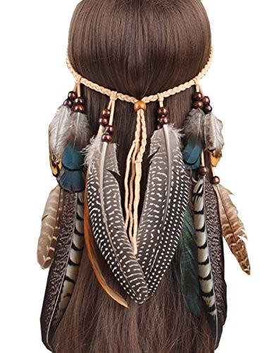 [Fascinator Headband Feather Bohemian Tassels Hairband Headwear for Women Girls] (Child Indian Headdress)