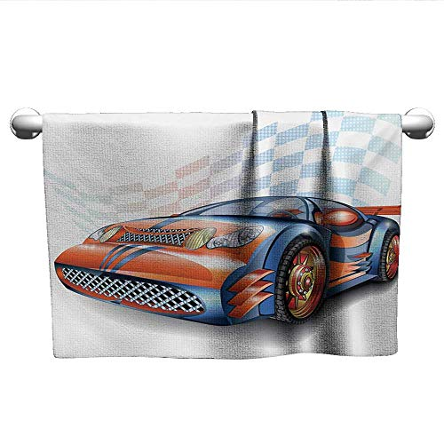 alisoso Cars,Small Bath Towels Cartoon Style Speeding Racing Car Event Championship Racetrack Victory Drive 3D Digital Printing Orange Blue Black W 28