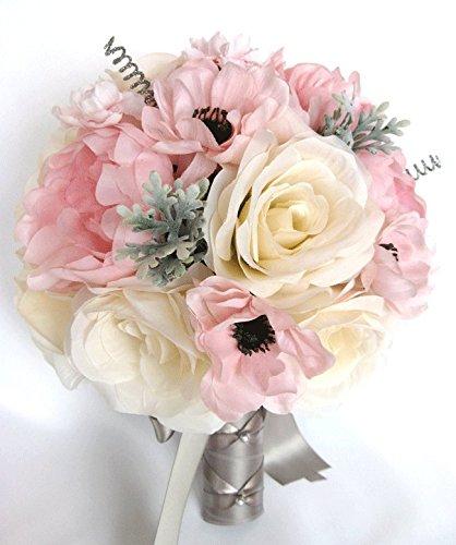 Amazon wedding bouquets bridal silk flowers light pink blush wedding bouquets bridal silk flowers light pink blush gray silver 17 piece package wedding bouquet centerpiece mightylinksfo