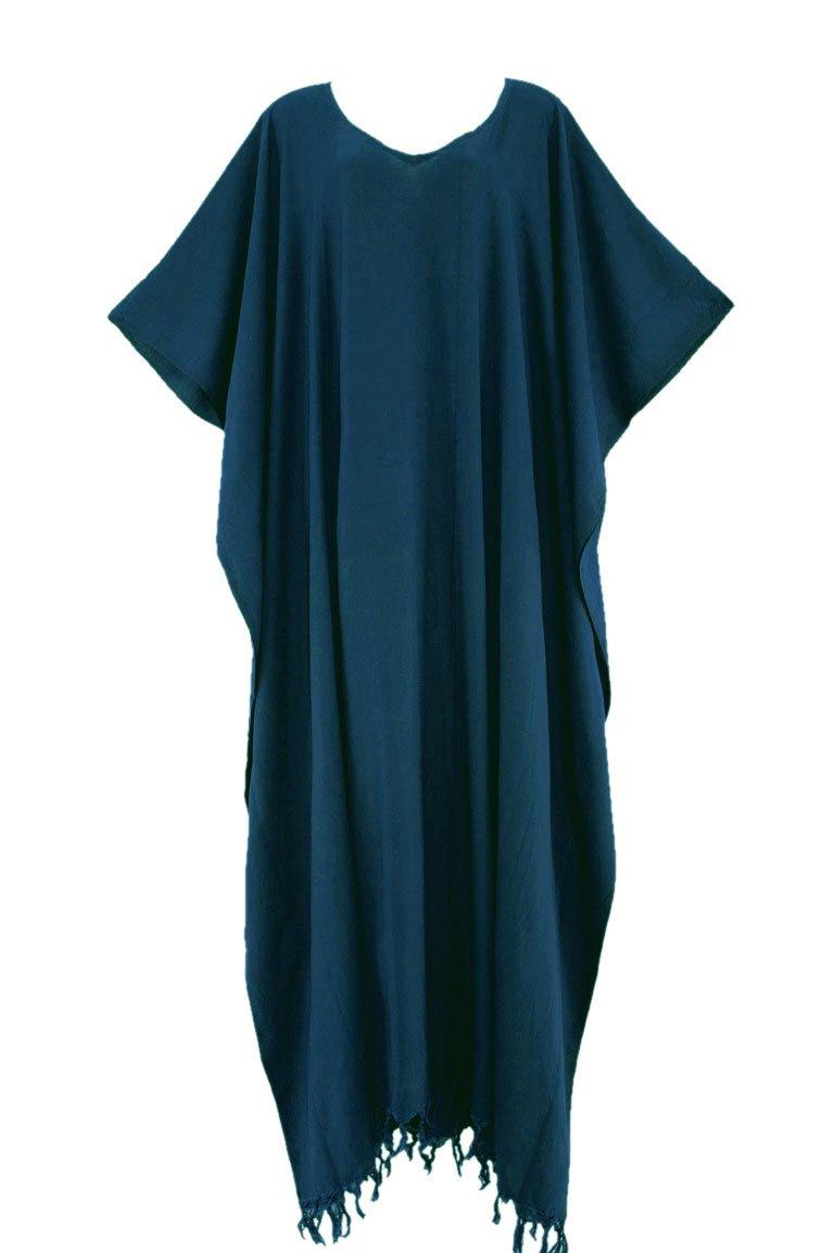 Beautybatik Teal Blue Caftan Kaftan Loungewear Maxi Long Dress 4X