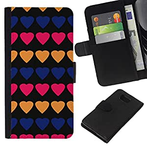 Planetar® Modelo colorido cuero carpeta tirón caso cubierta piel Holster Funda protección Samsung ALPHA G850 ( Heart Pattern Peach Black Lines Pink )