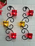 TiedRibbons® wall Sconce / T-lights holder Pack of 2(Black, Metal) | diwali decoration hanging | tealight holder hanging | diwali tealight holder | corporate gifts for staff
