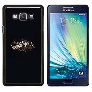 YiPhone /// Prima de resorte delgada de la cubierta del caso de Shell Armor - Arte del tatuaje de tinta Negro de oro de Brown - Samsung Galaxy A7 A7000