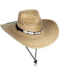 a2552b755720a Large Mexican Palm Leaf Cowboy Hat with Chin Strap